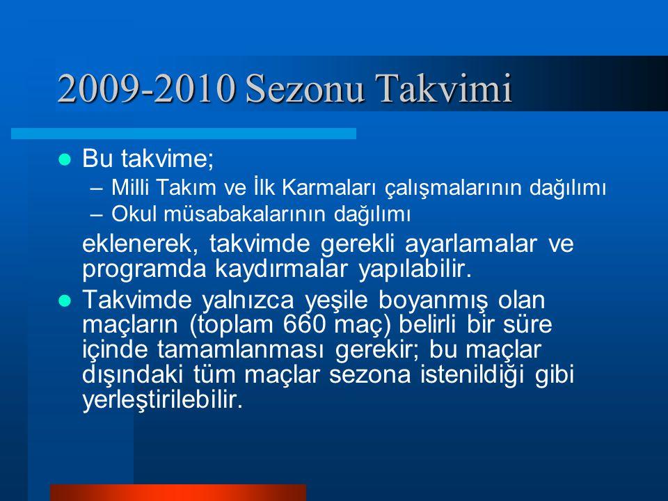 2009-2010 Sezonu Takvimi Bu takvime;