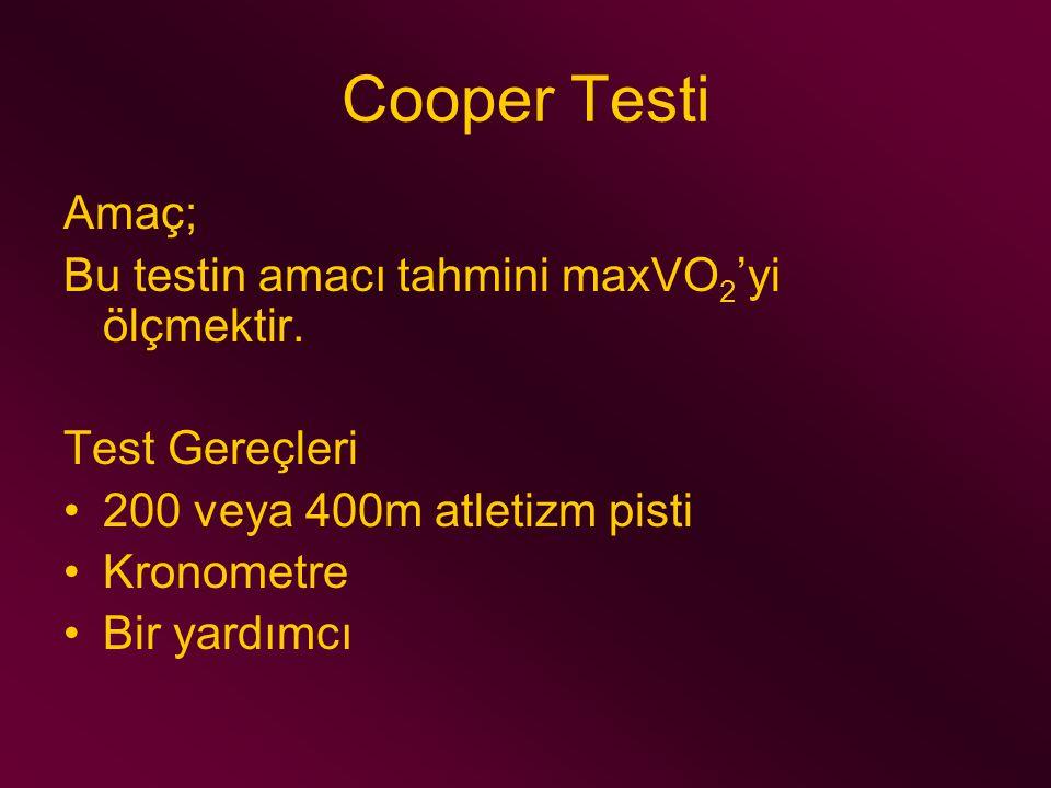Cooper Testi Amaç; Bu testin amacı tahmini maxVO2'yi ölçmektir.