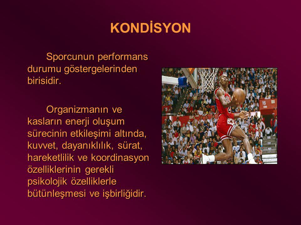 KONDİSYON Sporcunun performans durumu göstergelerinden birisidir.