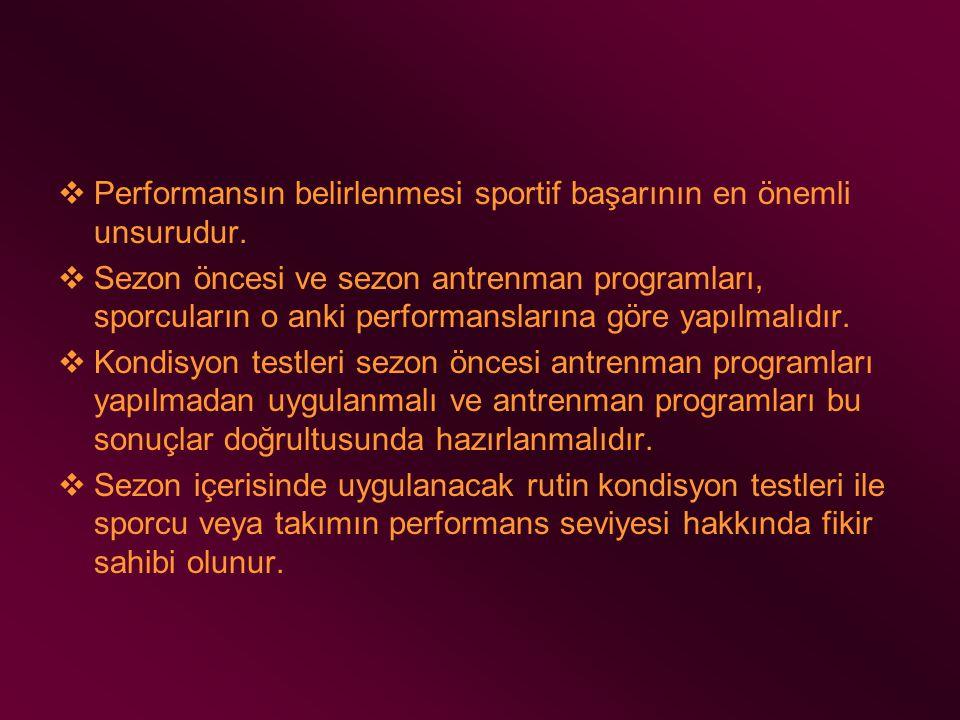 Performansın belirlenmesi sportif başarının en önemli unsurudur.