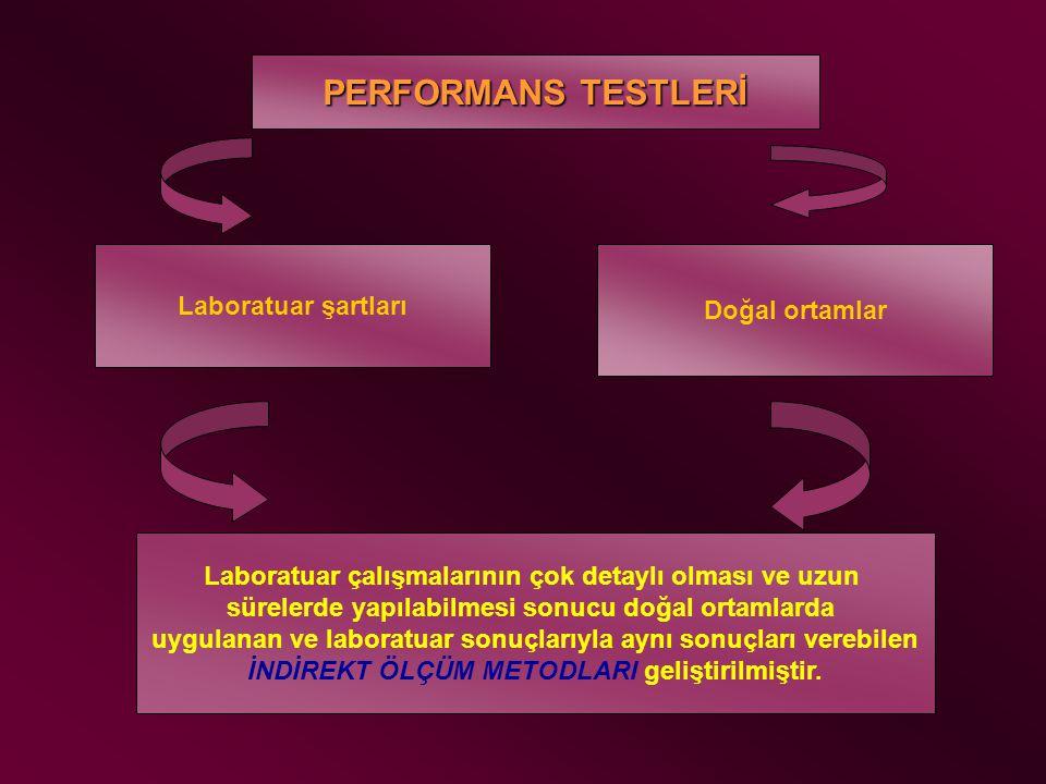 PERFORMANS TESTLERİ Laboratuar şartları Doğal ortamlar