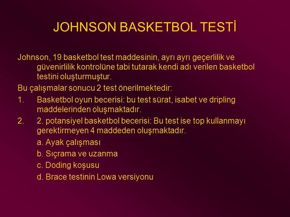 JOHNSON BASKETBOL TESTİ