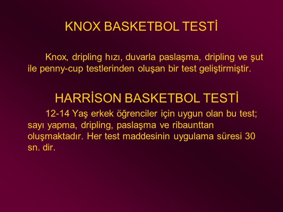 HARRİSON BASKETBOL TESTİ