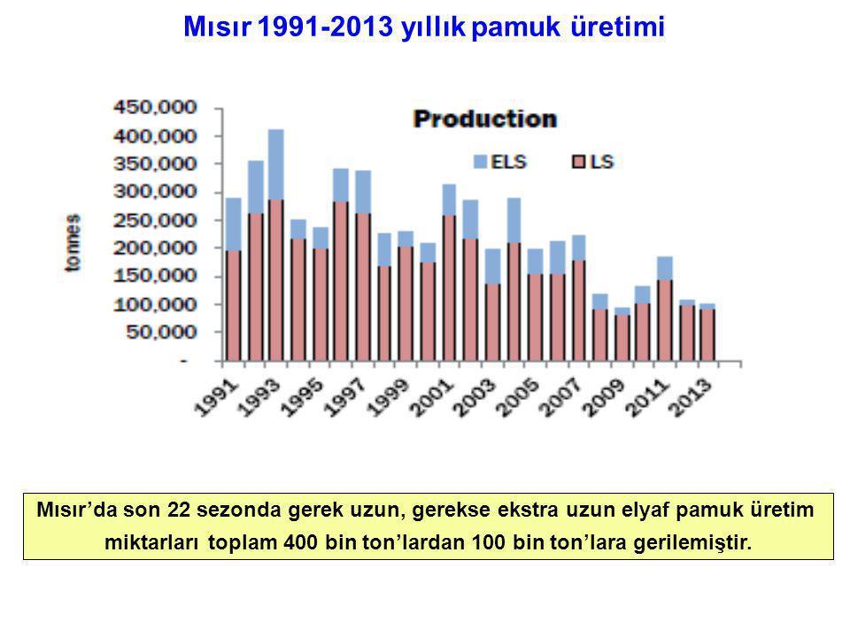 Mısır 1991-2013 yıllık pamuk üretimi