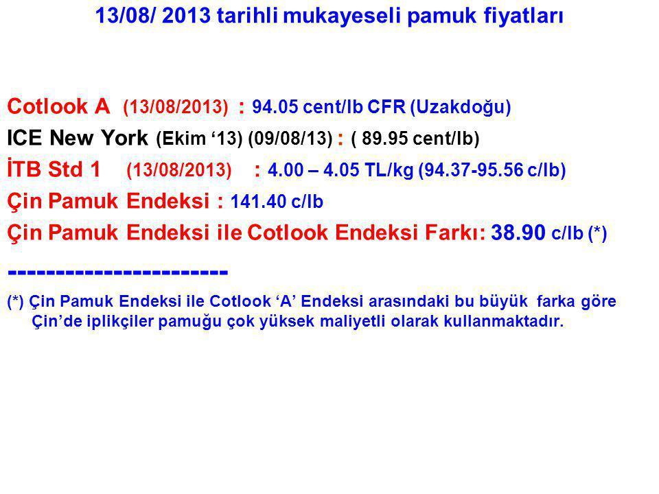 13/08/ 2013 tarihli mukayeseli pamuk fiyatları