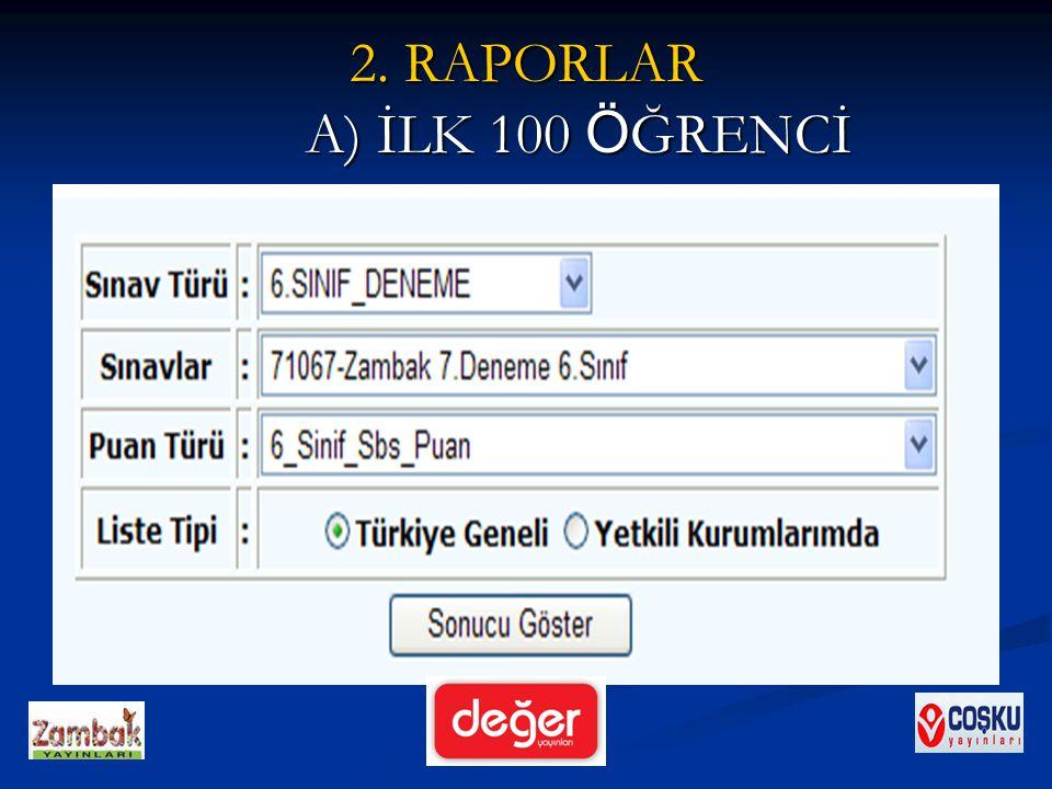 2. RAPORLAR A) İLK 100 ÖĞRENCİ