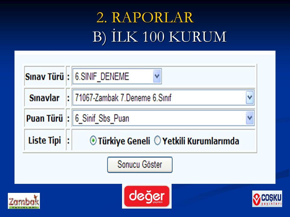 2. RAPORLAR B) İLK 100 KURUM