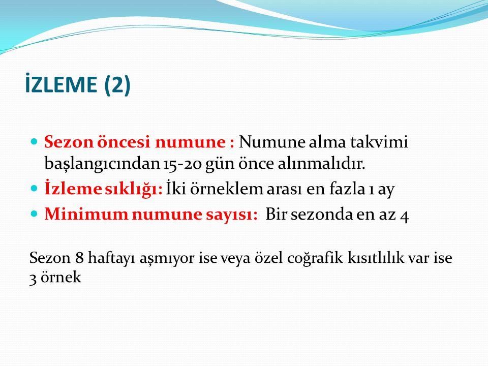 İZLEME (2) Sezon öncesi numune : Numune alma takvimi başlangıcından 15-20 gün önce alınmalıdır. İzleme sıklığı: İki örneklem arası en fazla 1 ay.
