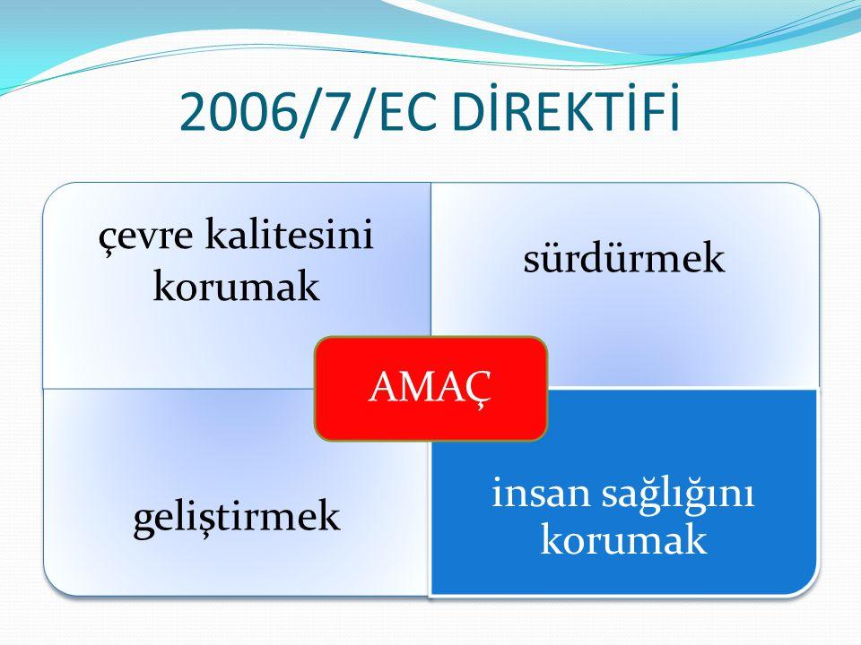2006/7/EC DİREKTİFİ AMAÇ çevre kalitesini korumak sürdürmek