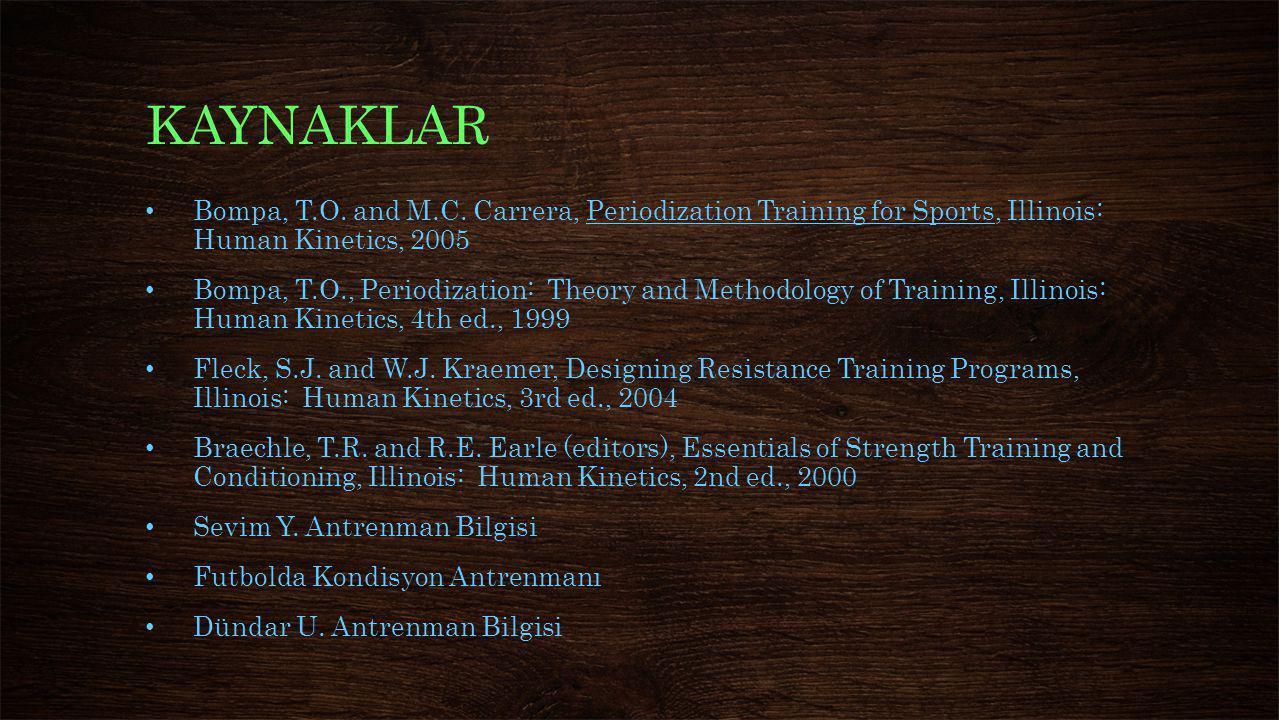 KAYNAKLAR Bompa, T.O. and M.C. Carrera, Periodization Training for Sports, Illinois: Human Kinetics, 2005.