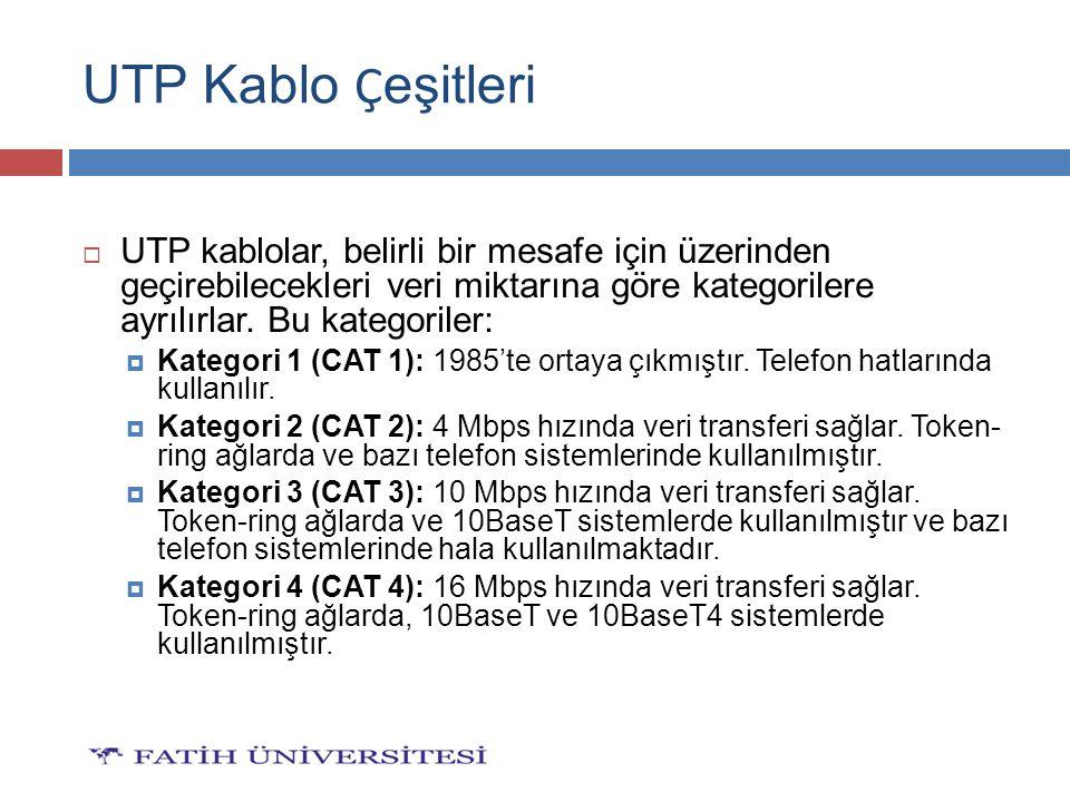 UTP Kablo Çeşitleri UTP kablolar, belirli bir mesafe için üzerinden geçirebilecekleri veri miktarına göre kategorilere ayrılırlar. Bu kategoriler: