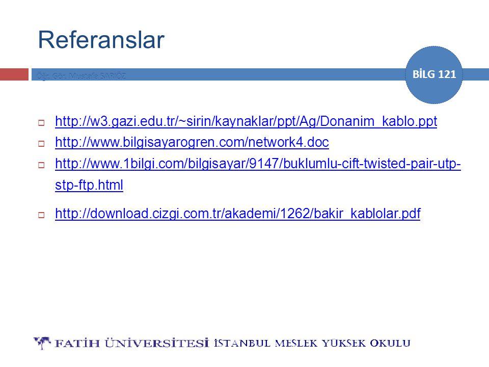 Referanslar http://w3.gazi.edu.tr/~sirin/kaynaklar/ppt/Ag/Donanim_kablo.ppt. http://www.bilgisayarogren.com/network4.doc.