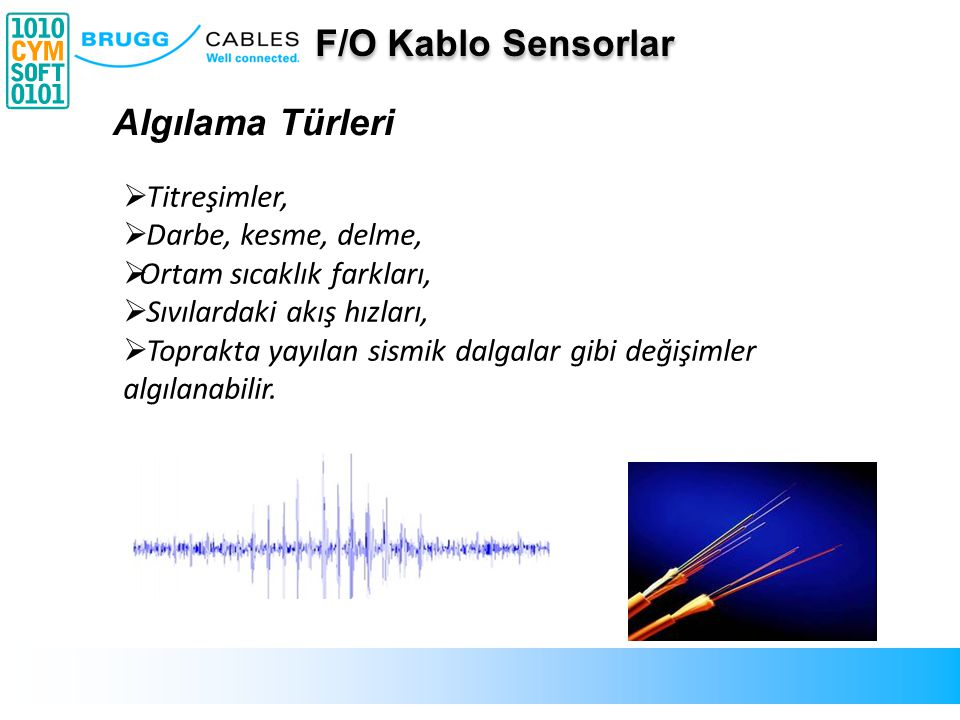 F/O Kablo Sensorlar Algılama Türleri Titreşimler, Darbe, kesme, delme,