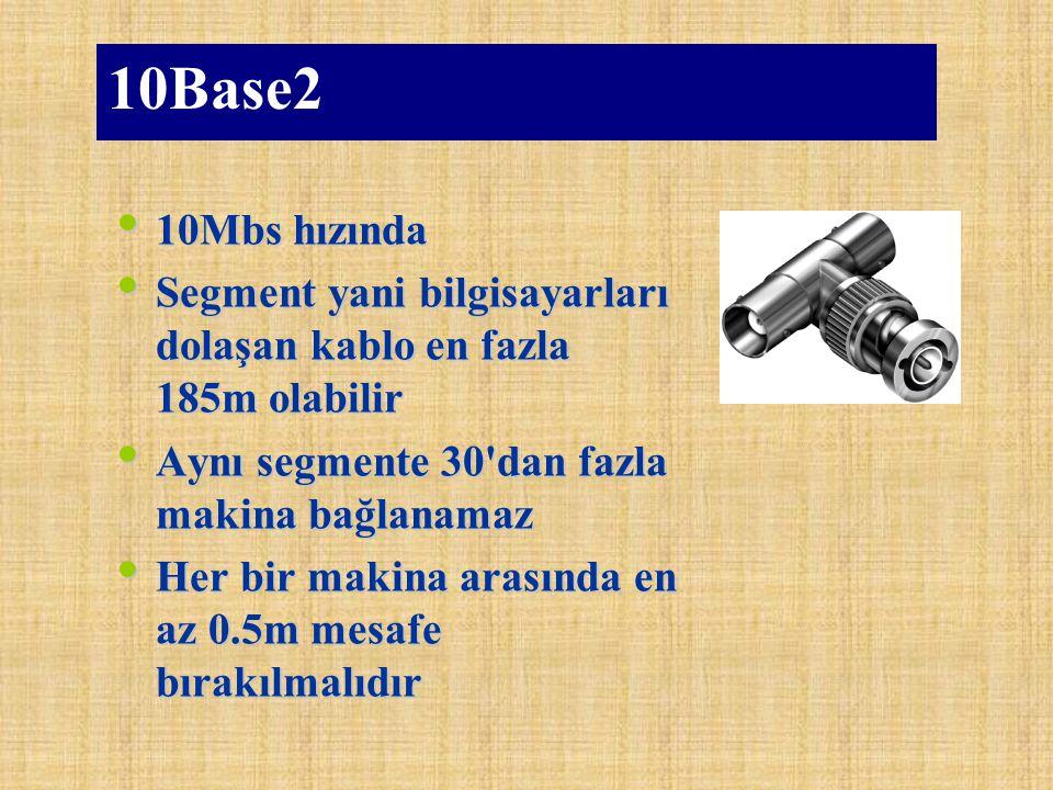 10Base2 10Mbs hızında. Segment yani bilgisayarları dolaşan kablo en fazla 185m olabilir. Aynı segmente 30 dan fazla makina bağlanamaz.