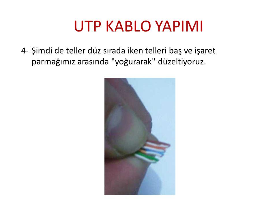 UTP KABLO YAPIMI 4- Şimdi de teller düz sırada iken telleri baş ve işaret parmağımız arasında yoğurarak düzeltiyoruz.