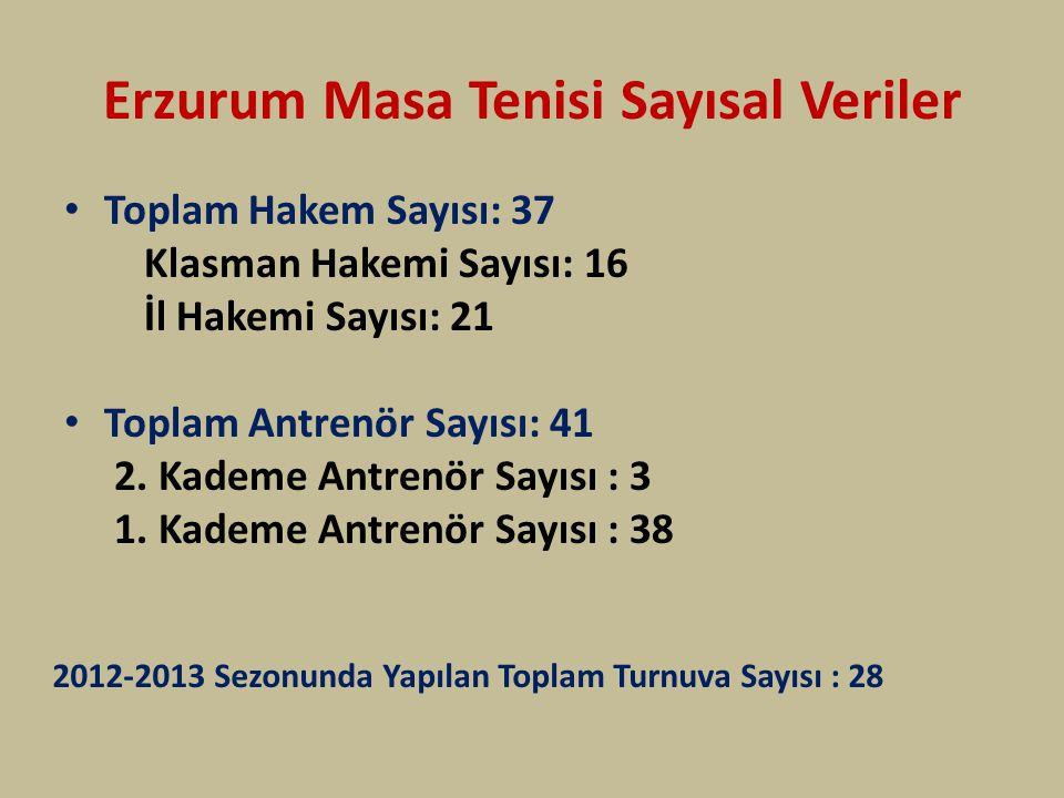 Erzurum Masa Tenisi Sayısal Veriler