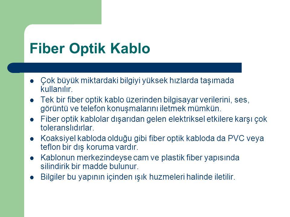 Fiber Optik Kablo Çok büyük miktardaki bilgiyi yüksek hızlarda taşımada kullanılır.