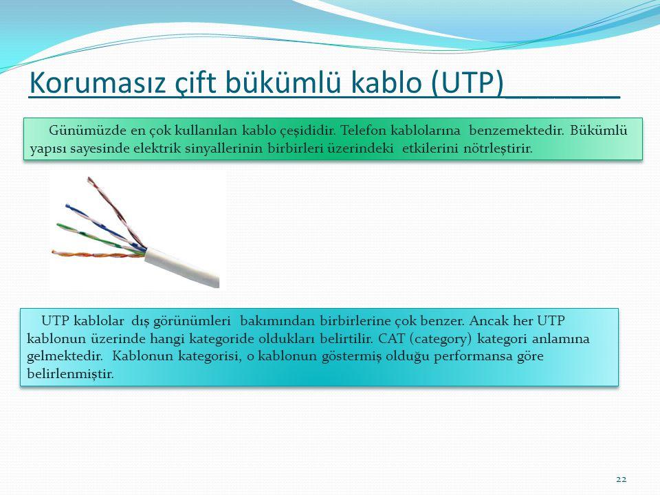 Korumasız çift bükümlü kablo (UTP)_______