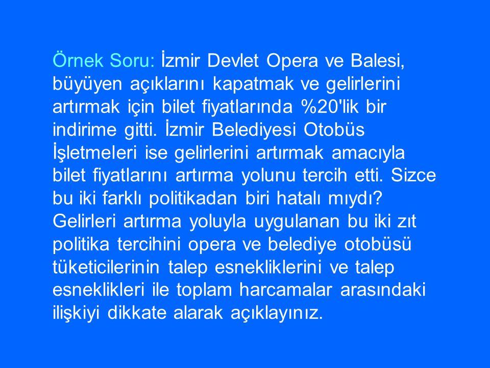 Örnek Soru: İzmir Devlet Opera ve Balesi, büyüyen açıklarını kapatmak ve gelirlerini artırmak için bilet fiyatlarında %20 lik bir indirime gitti.