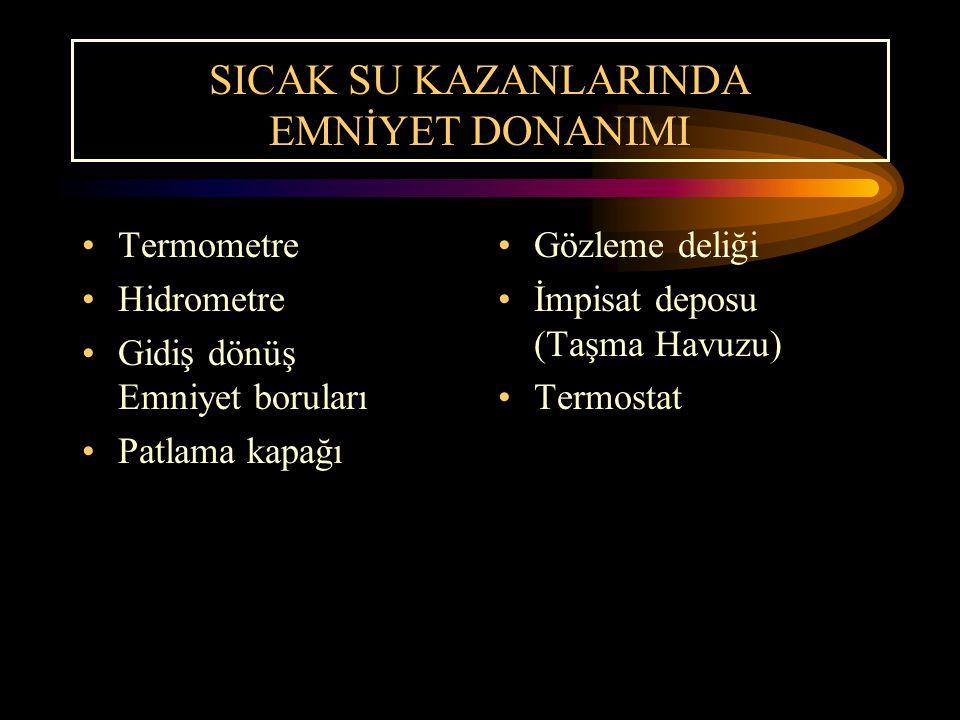 SICAK SU KAZANLARINDA EMNİYET DONANIMI