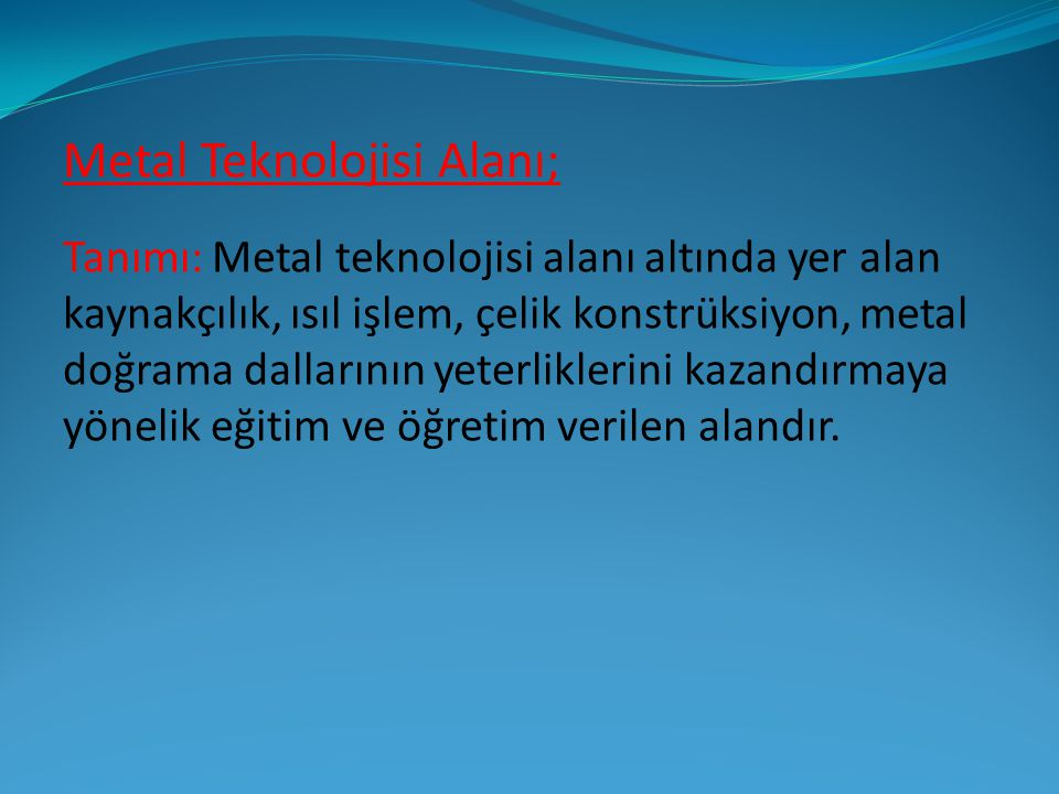Metal Teknolojisi Alanı;