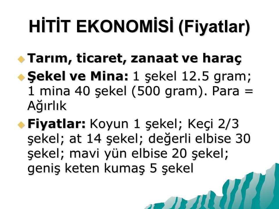 HİTİT EKONOMİSİ (Fiyatlar)