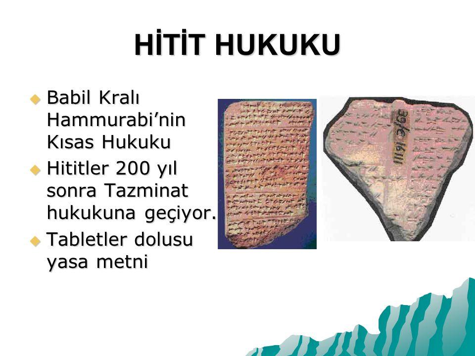 HİTİT HUKUKU Babil Kralı Hammurabi'nin Kısas Hukuku
