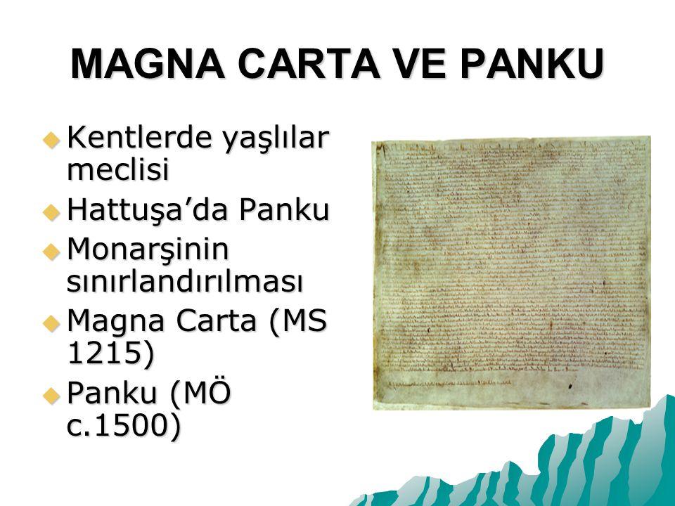 MAGNA CARTA VE PANKU Kentlerde yaşlılar meclisi Hattuşa'da Panku