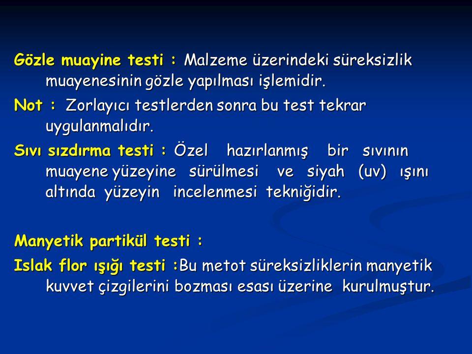 Gözle muayine testi : Malzeme üzerindeki süreksizlik muayenesinin gözle yapılması işlemidir.