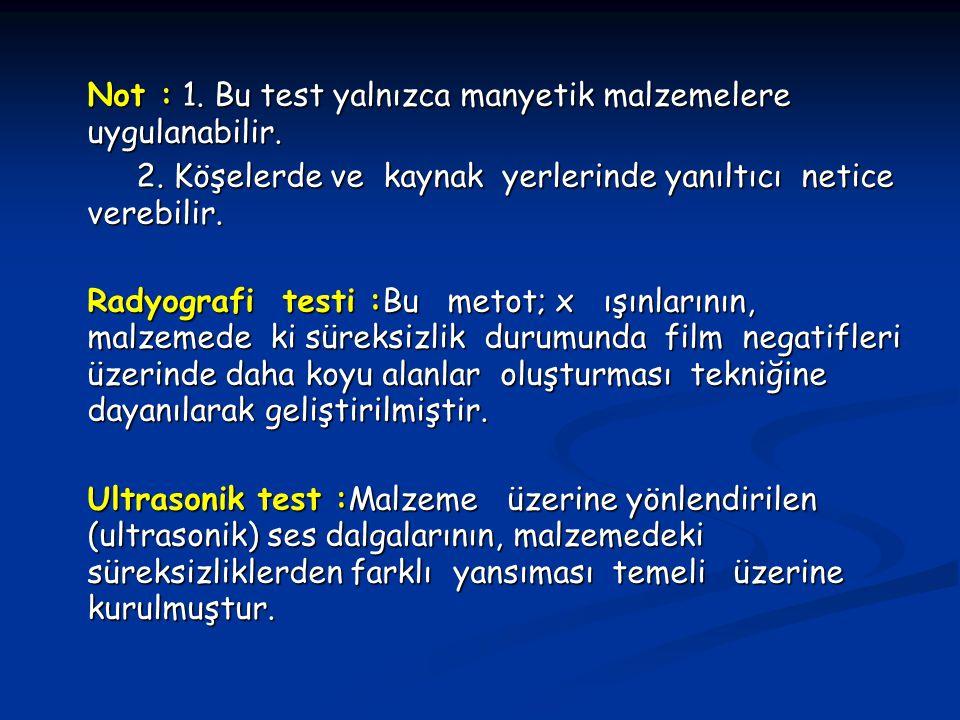 Not : 1. Bu test yalnızca manyetik malzemelere uygulanabilir.