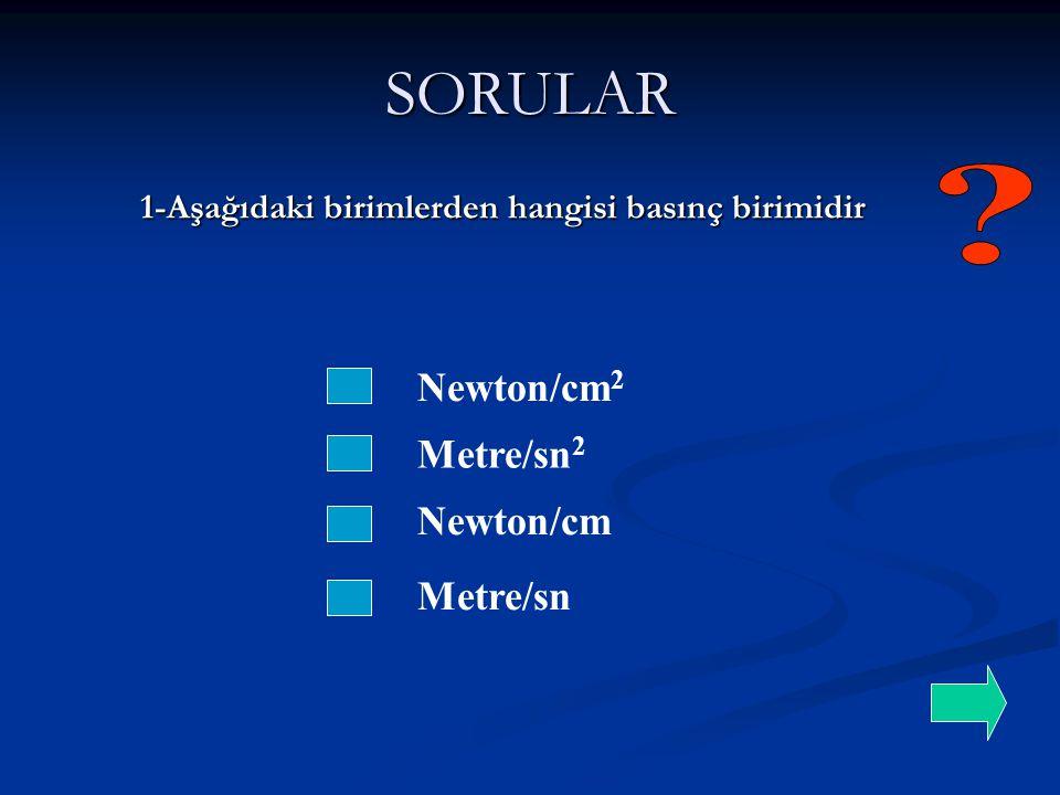 SORULAR Newton/cm2 Metre/sn2 Newton/cm Metre/sn