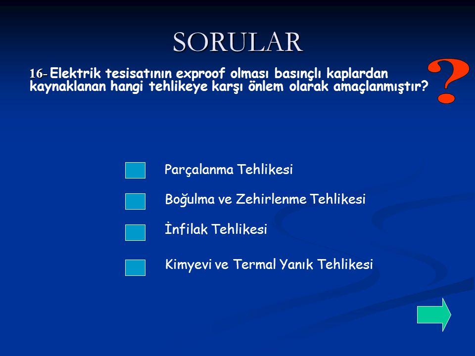SORULAR 16- Elektrik tesisatının exproof olması basınçlı kaplardan kaynaklanan hangi tehlikeye karşı önlem olarak amaçlanmıştır
