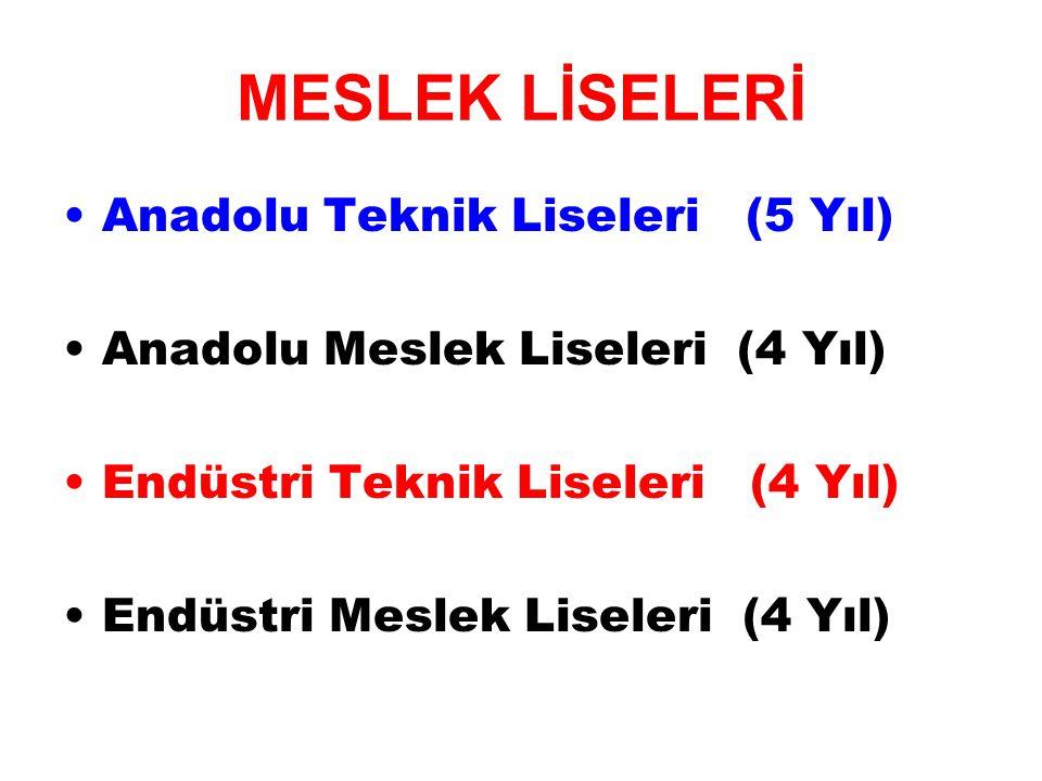 MESLEK LİSELERİ Anadolu Teknik Liseleri (5 Yıl)