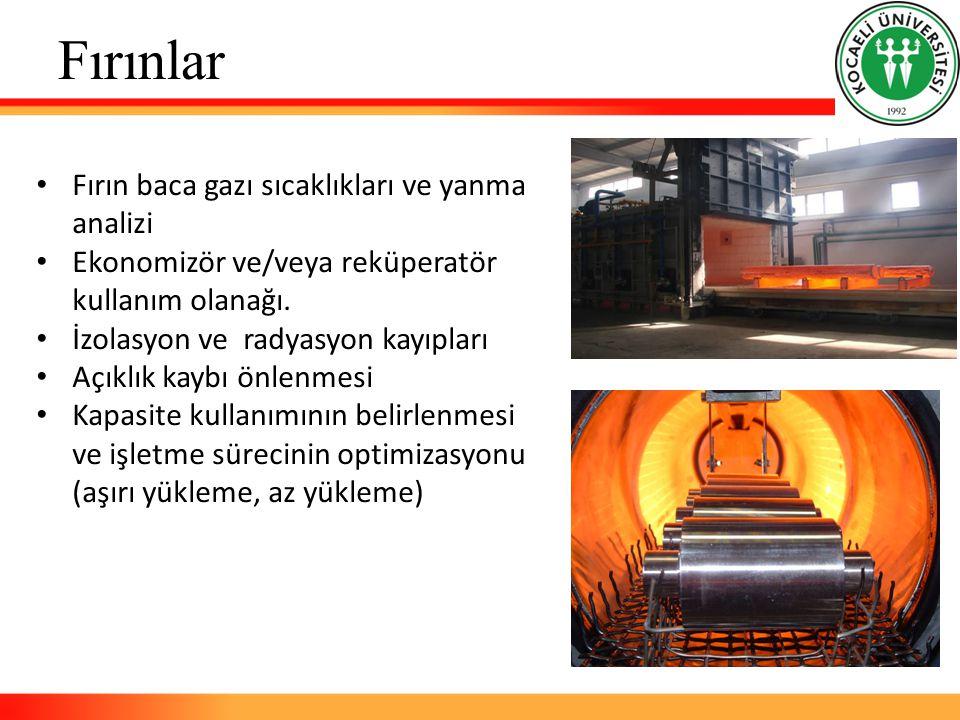 Fırınlar Fırın baca gazı sıcaklıkları ve yanma analizi