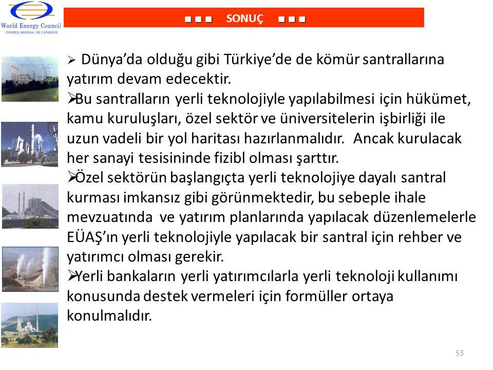 ■ ■ ■ SONUÇ ■ ■ ■ Dünya'da olduğu gibi Türkiye'de de kömür santrallarına yatırım devam edecektir.