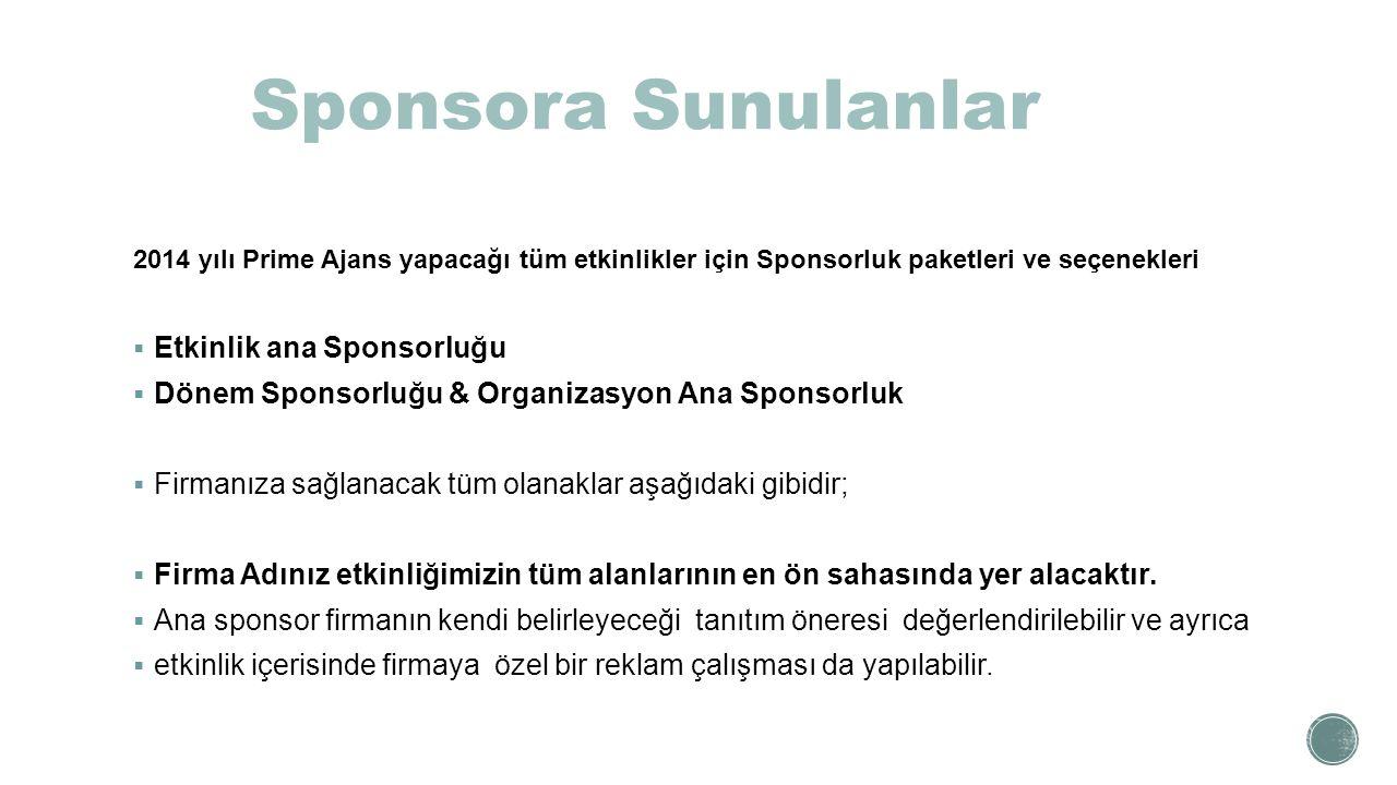 Sponsora Sunulanlar Etkinlik ana Sponsorluğu