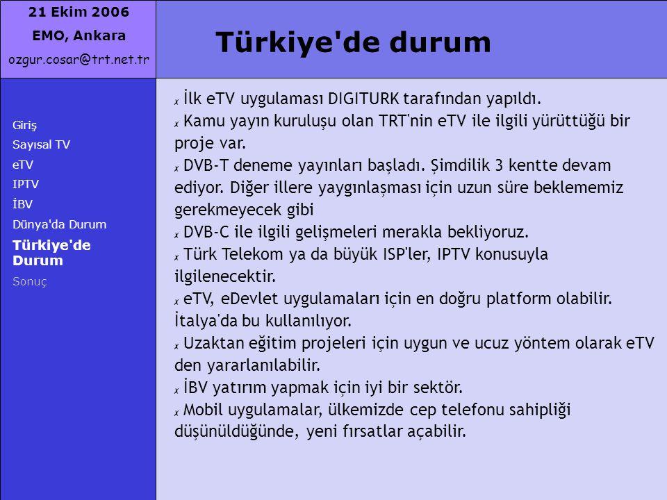 Türkiye de durum İlk eTV uygulaması DIGITURK tarafından yapıldı.
