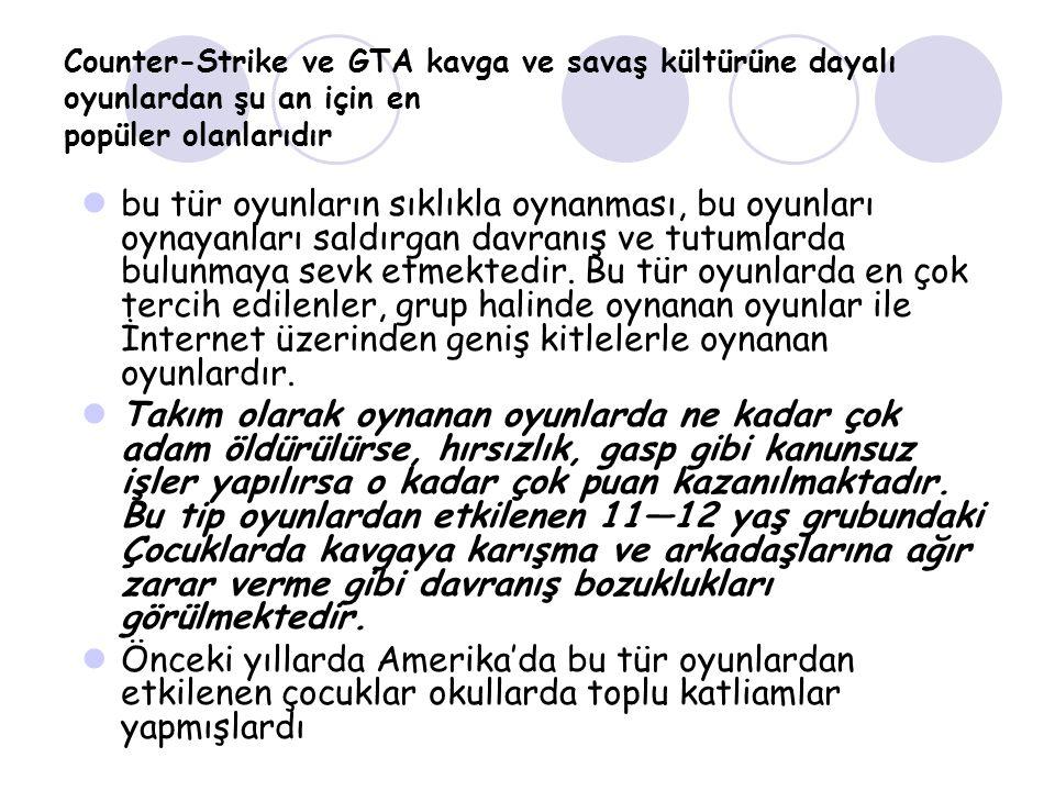 Counter-Strike ve GTA kavga ve savaş kültürüne dayalı oyunlardan şu an için en popüler olanlarıdır