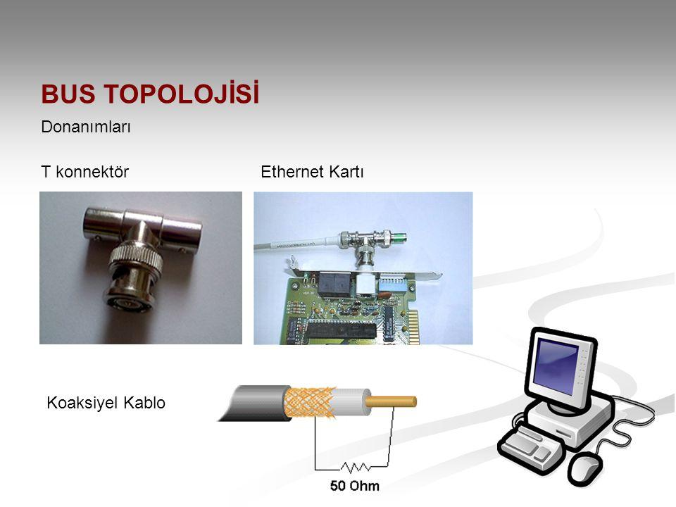 BUS TOPOLOJİSİ Donanımları T konnektör Ethernet Kartı Koaksiyel Kablo