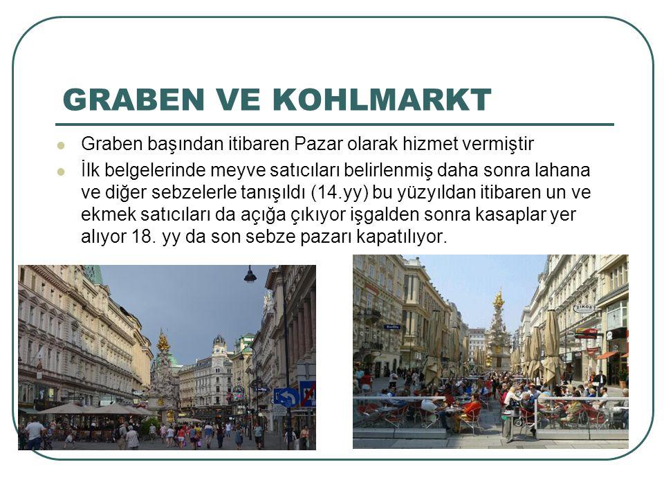 GRABEN VE KOHLMARKT Graben başından itibaren Pazar olarak hizmet vermiştir.