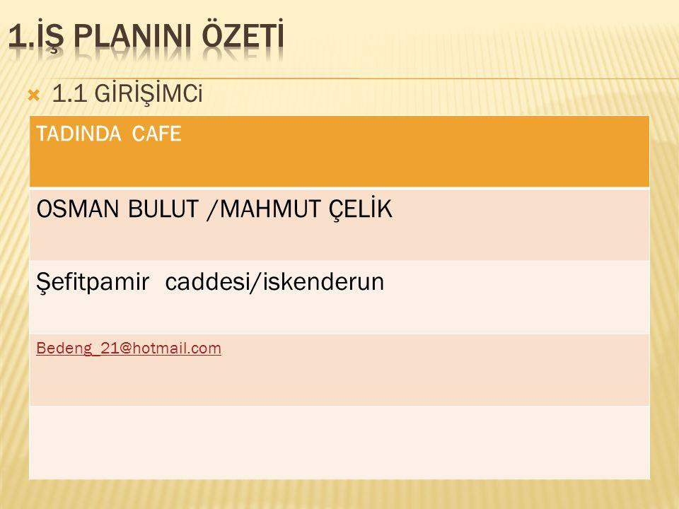 1.İŞ PLANINI ÖZETİ 1.1 GİRİŞİMCi OSMAN BULUT /MAHMUT ÇELİK