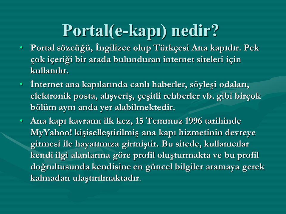 Portal(e-kapı) nedir Portal sözcüğü, İngilizce olup Türkçesi Ana kapıdır. Pek çok içeriği bir arada bulunduran internet siteleri için kullanılır.