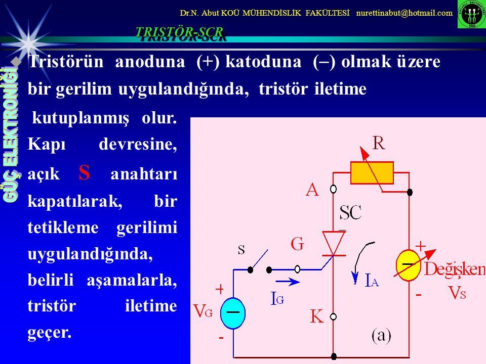 TRISTÖR-SCR Tristörün anoduna (+) katoduna () olmak üzere bir gerilim uygulandığında, tristör iletime.