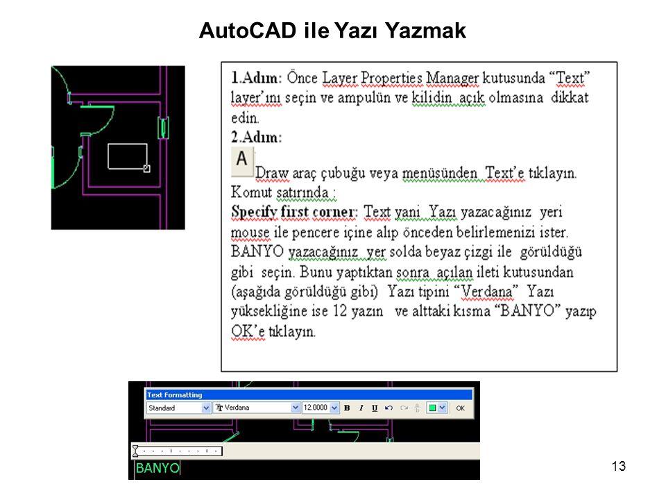 AutoCAD ile Yazı Yazmak