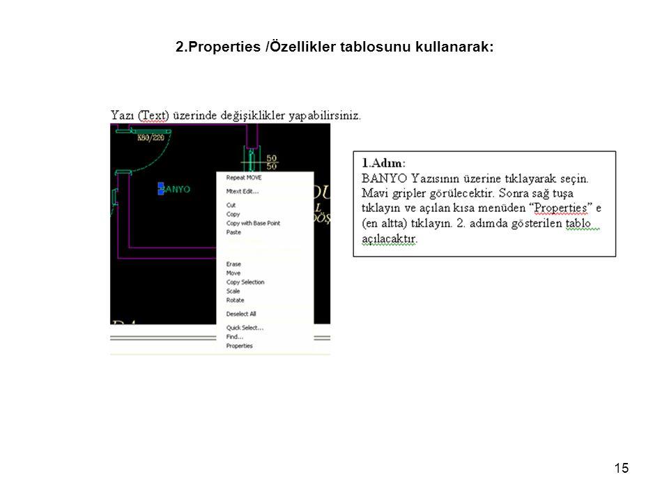 2.Properties /Özellikler tablosunu kullanarak: