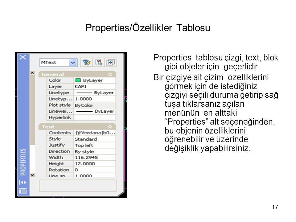 Properties/Özellikler Tablosu