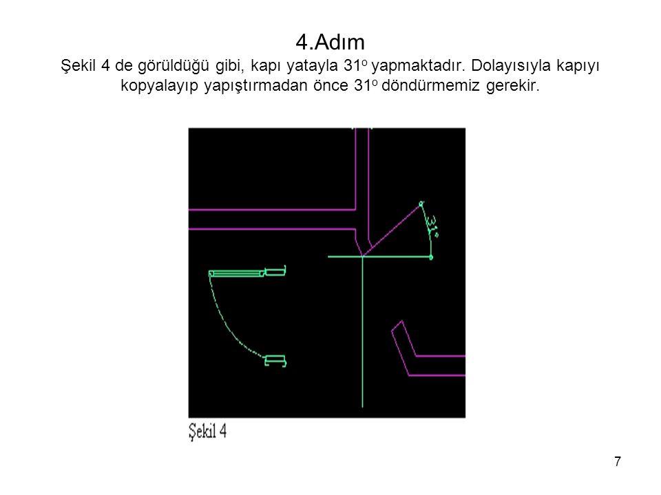 4. Adım Şekil 4 de görüldüğü gibi, kapı yatayla 31o yapmaktadır