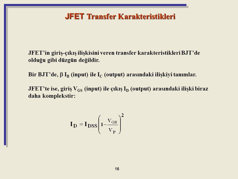 JFET Transfer Karakteristikleri
