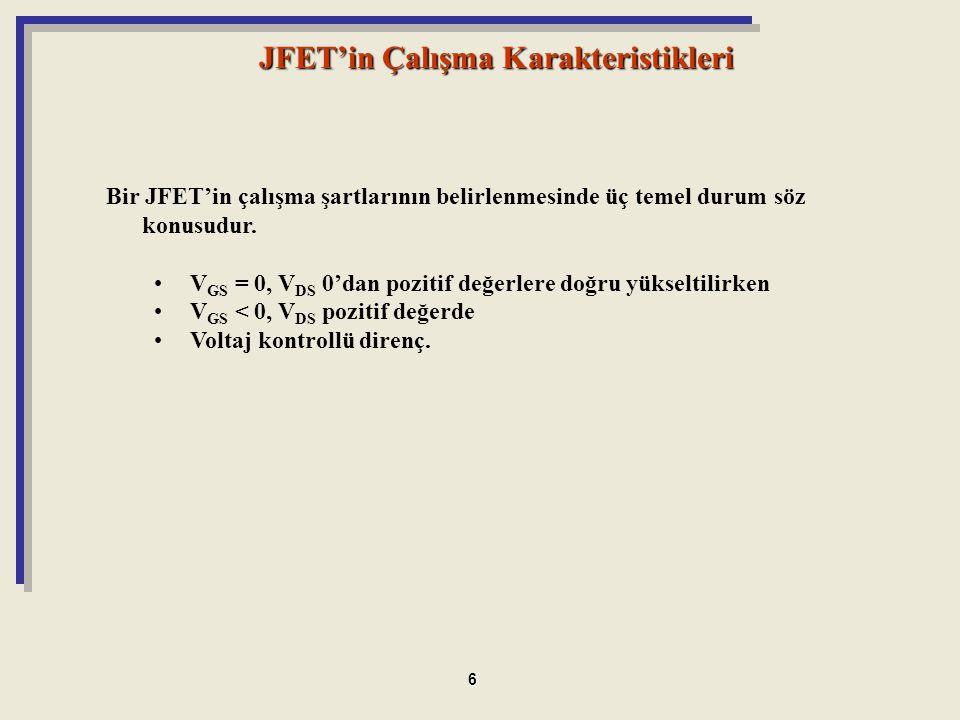 JFET'in Çalışma Karakteristikleri