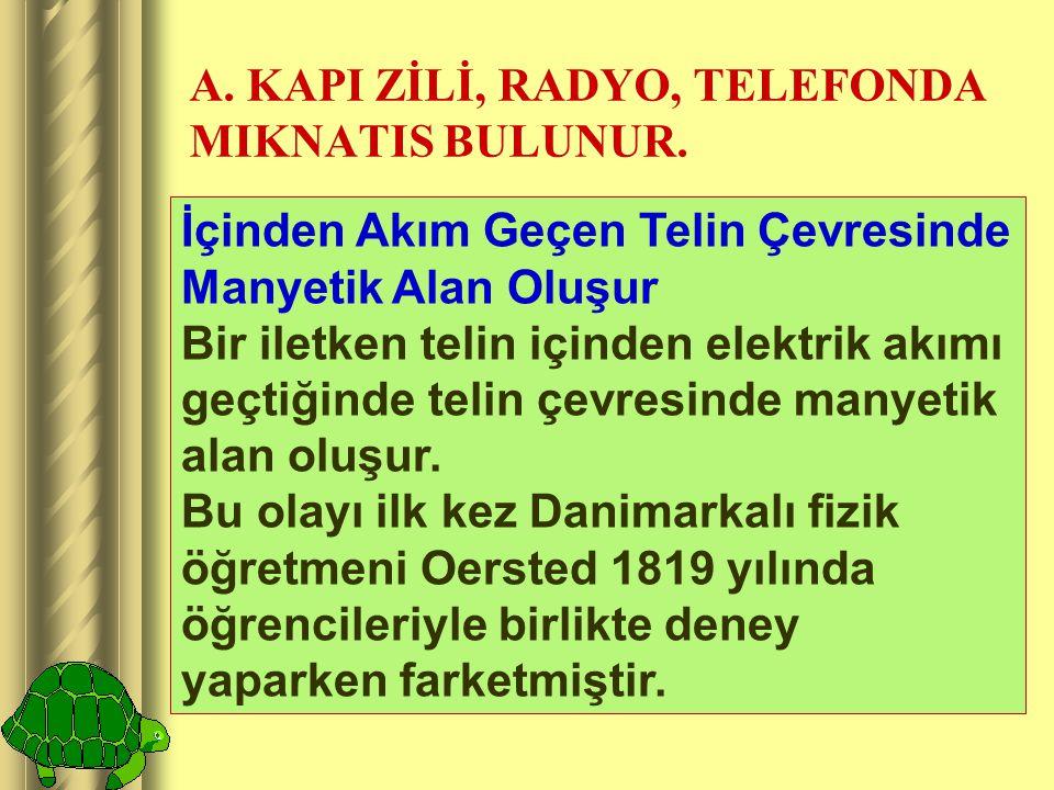 A. KAPI ZİLİ, RADYO, TELEFONDA MIKNATIS BULUNUR.